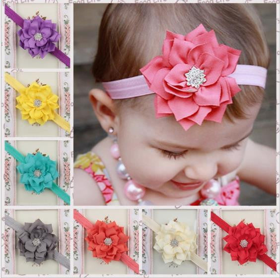 Chiffon Flower Headband with Diamond Center BH15005