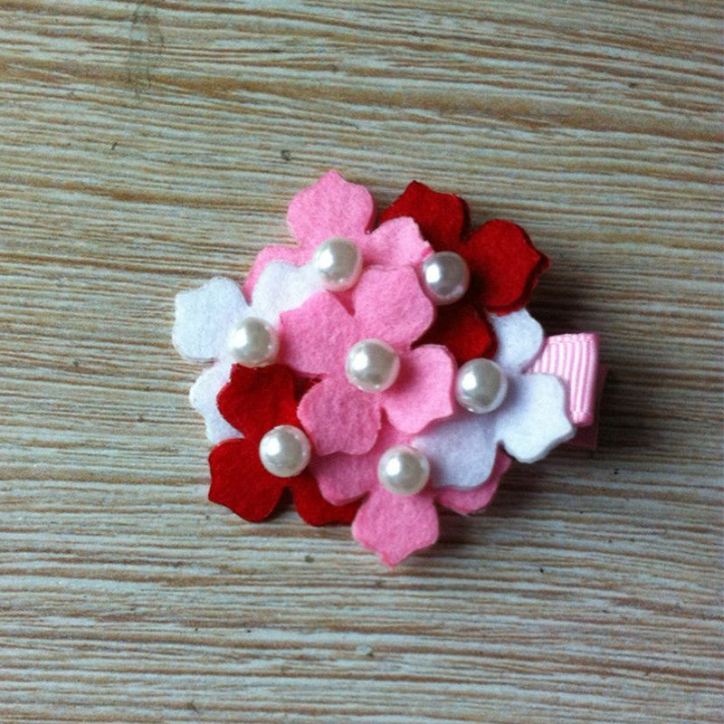 Felt Hydrangeas Clip - Red/Pink/White Mix