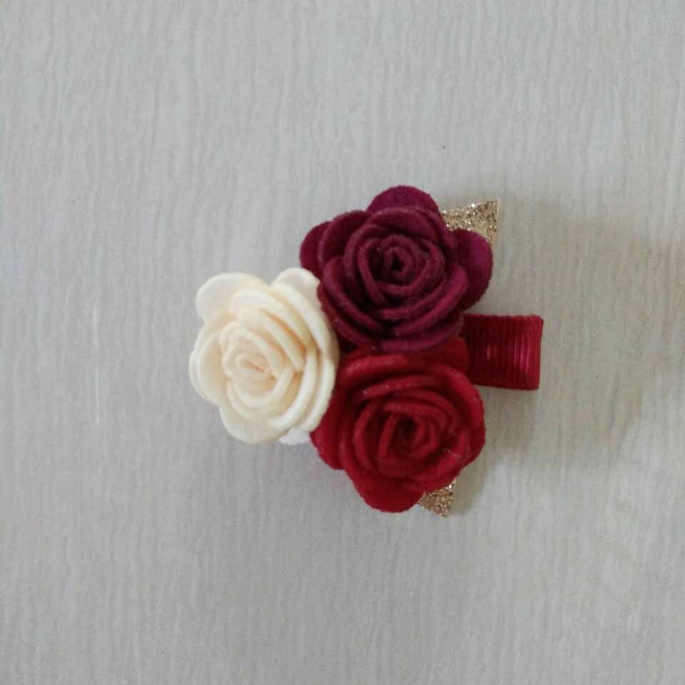 Felt Rose Cluster Hair Clip - Red Mix