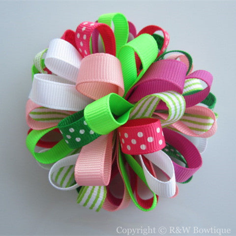 Floral Mermaid Loopy Hair Bow