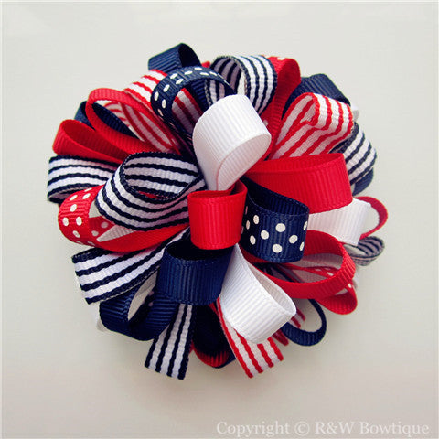 Fourth of July Loopy Hair Bow