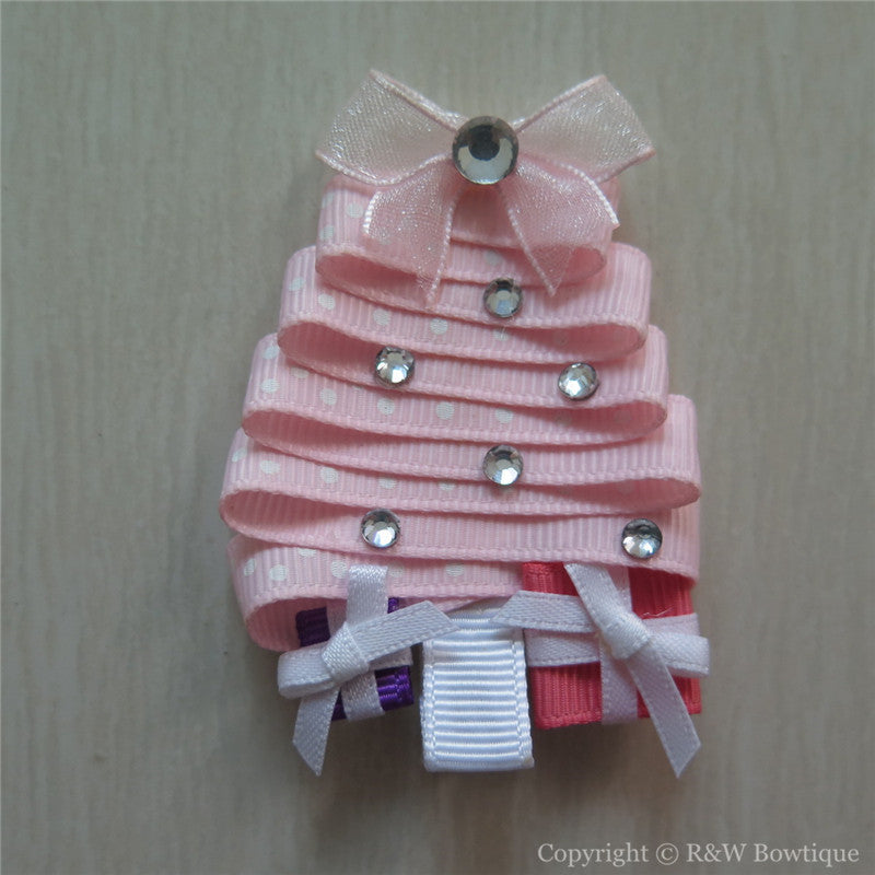 Pink Christmas Tree Sculptured Hair Clip