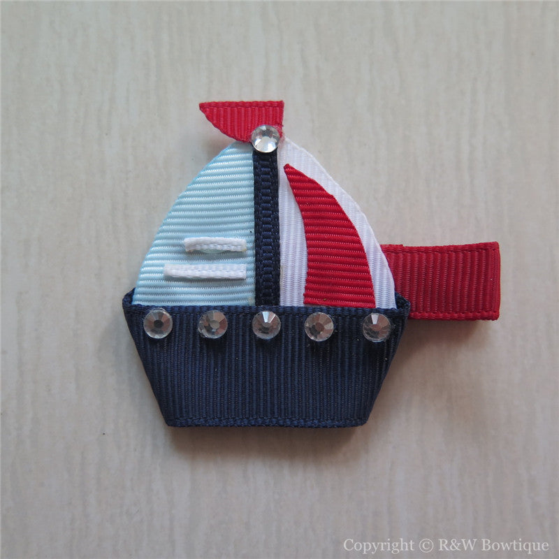 Sailboat #C Sculptured Hair Clip