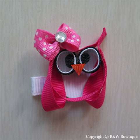 Valentine Owl Sculptured Hair Clip