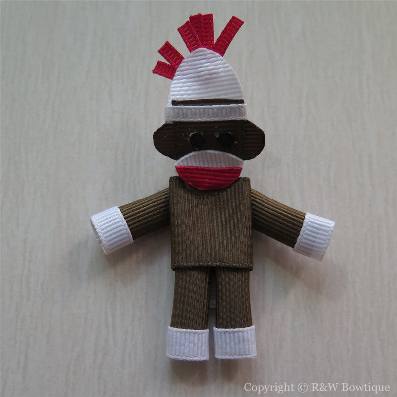 Sock Monkey Sculptured Hair Clip