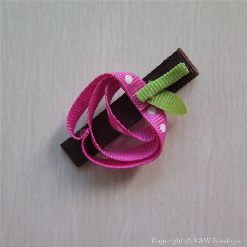 Pink Apple Sculptured Hair Clip
