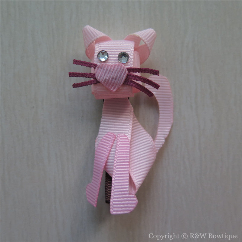 Pink Cat Sculptured Hair Clip