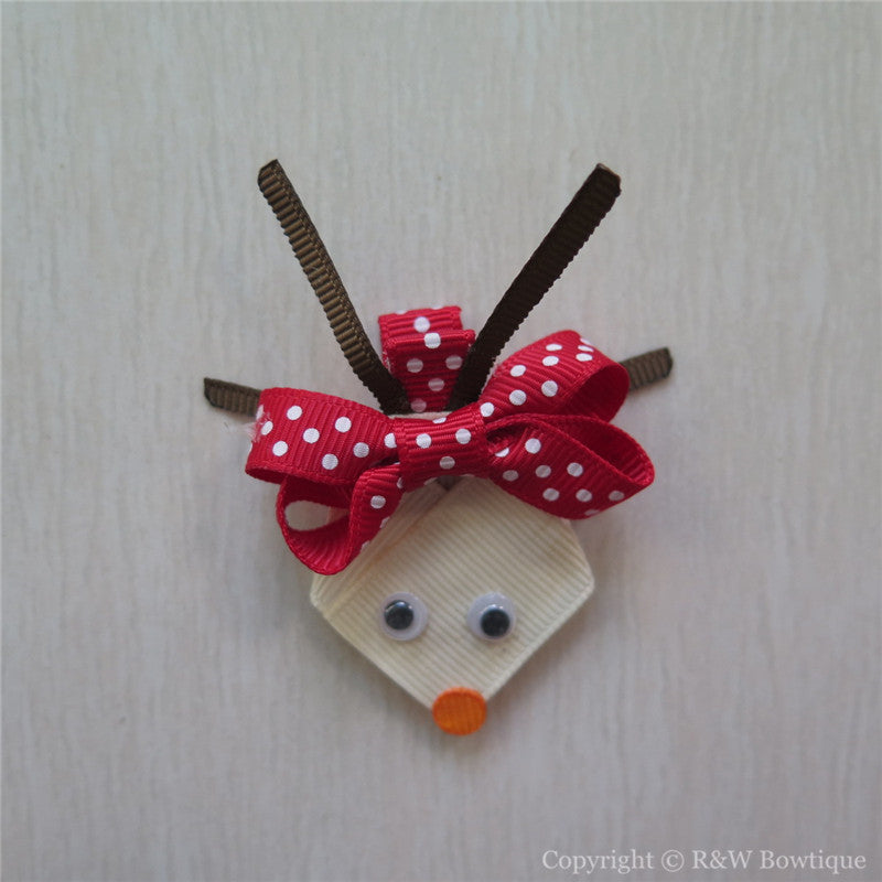 Reindeer Rudolph #C Sculptured Hair Clip