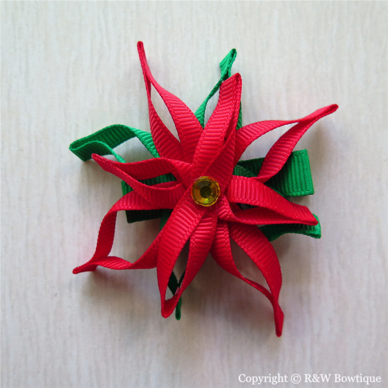 Poinsettia Sculptured Hair Clip