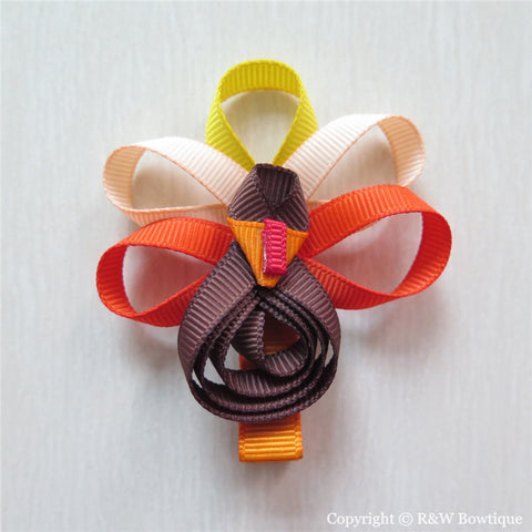 Thanksgiving Turkey #E Sculptured Hair Clip