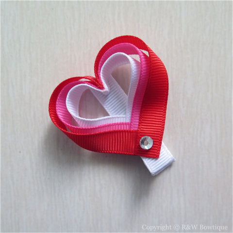 Valentine Hearts #D Sculptured Hair Clip