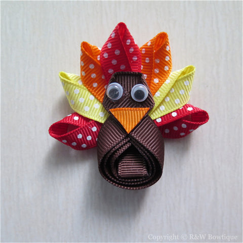 Thanksgiving Turkey #C Sculptured Hair Clip