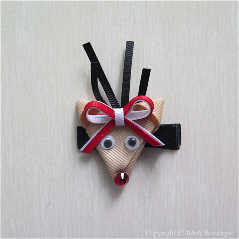 Reindeer Rudolph #D Sculptured Hair Clip