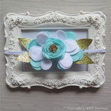 Mint White and Gold Felt Flower Crown Headband