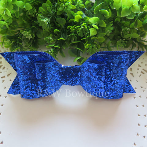 Royal Blue Glitter Fabric Oversize Hair Bow