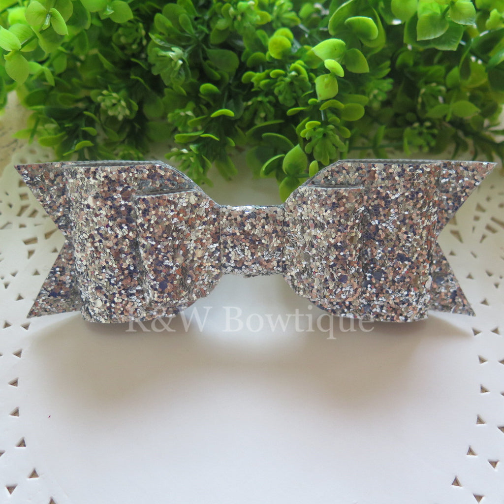 Silver Glitter Fabric Oversize Hair Bow