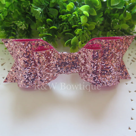 Candy Pink Glitter Fabric Oversize Hair Bow