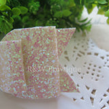 White Glitter Fabric Oversize Hair Bow