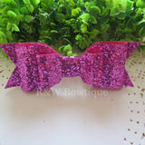 Fuchsia Glitter Fabric Oversize Hair Bow