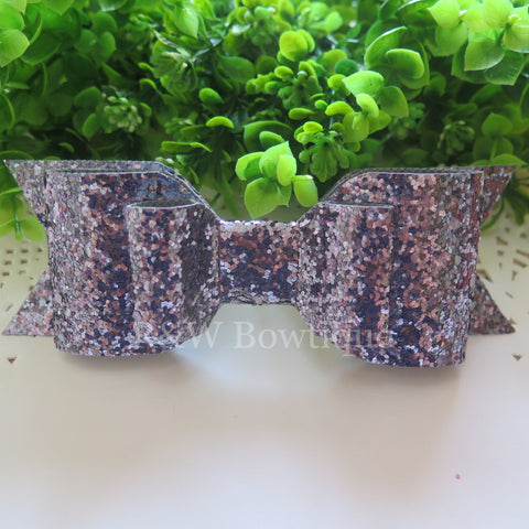 Grey Glitter Fabric Oversize Hair Bow