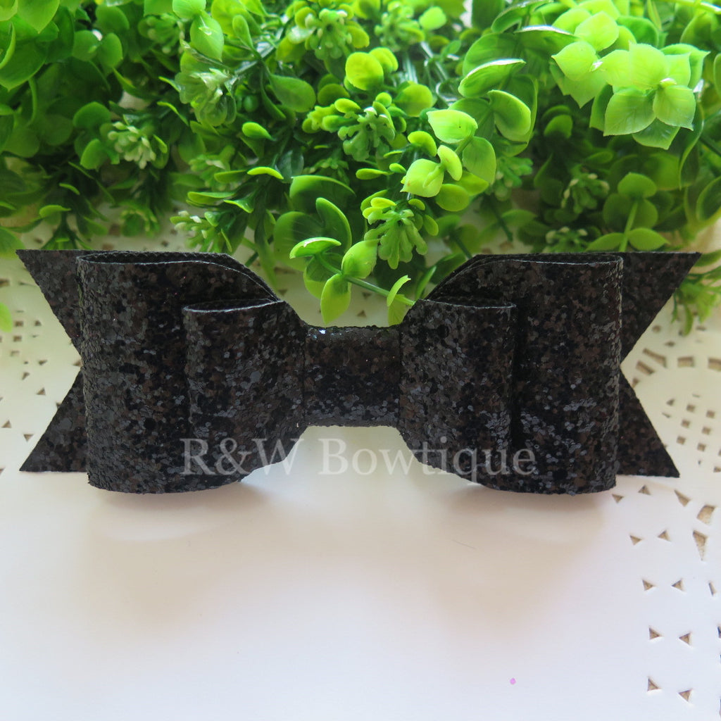 Black Glitter Fabric Oversize Hair Bow