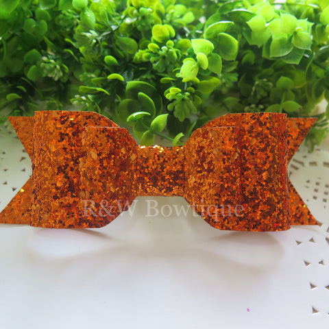Bronze Glitter Fabric Oversize Hair Bow
