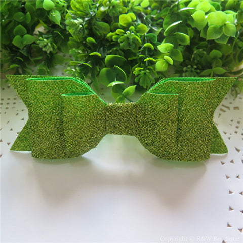 Apple Green Shimmery Oversize Hair Bow