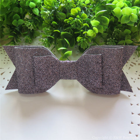 Grey Shimmery Oversize Hair Bow