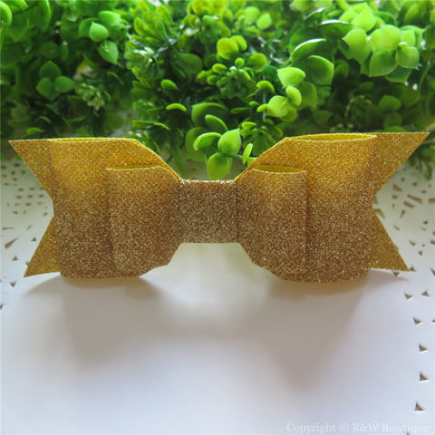 Bright Gold Shimmery Oversize Hair Bow