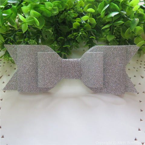 Silver Shimmery Oversize Hair Bow
