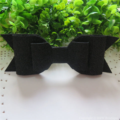 Black Shimmery Oversize Hair Bow
