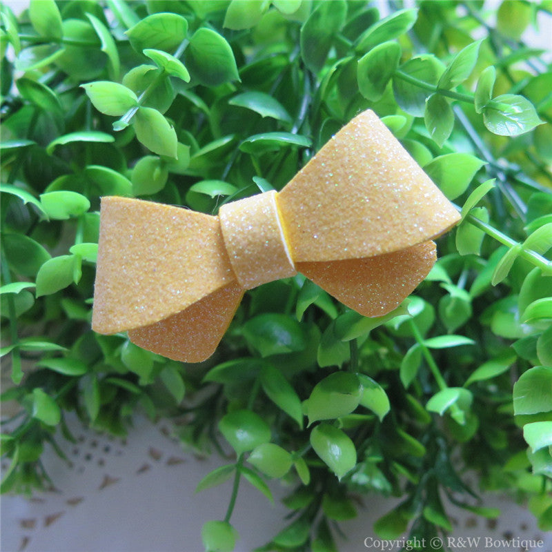 Chamois Glitter Felt Mini Hair Bow