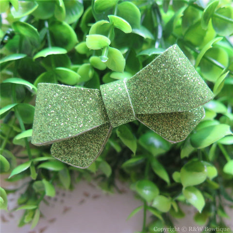 Apple Green Glitter Felt Mini Hair Bow