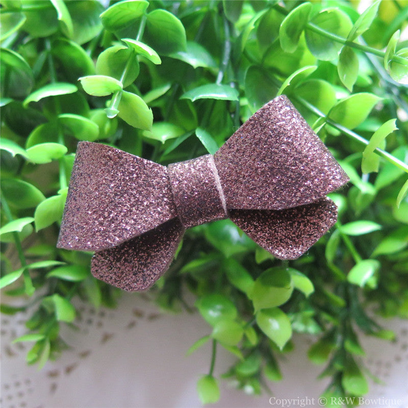 Brown Glitter Felt Mini Hair Bow
