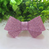 Pale Pink Glitter Felt Mini Hair Bow