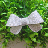 Silver Thin Glitter Felt Mini Hair Bow