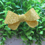 Bright Gold Thin Glitter Felt Mini Hair Bow