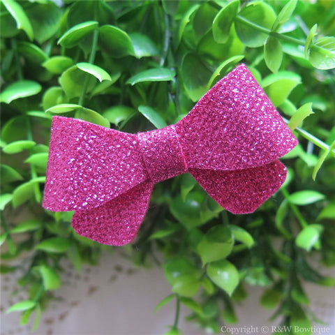 Azalea Thin Glitter Felt Mini Hair Bow