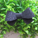 Black Thin Glitter Felt Mini Hair Bow
