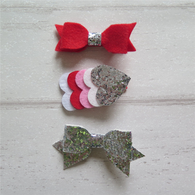 Felt Bow & Heart Clips Set of 3 - Red & Silver Mix