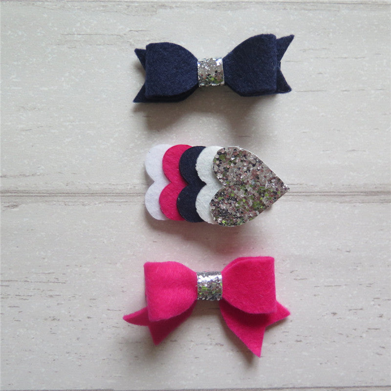 Felt Bow & Heart Clips Set of 3 - Navy and Shk Pink Mix