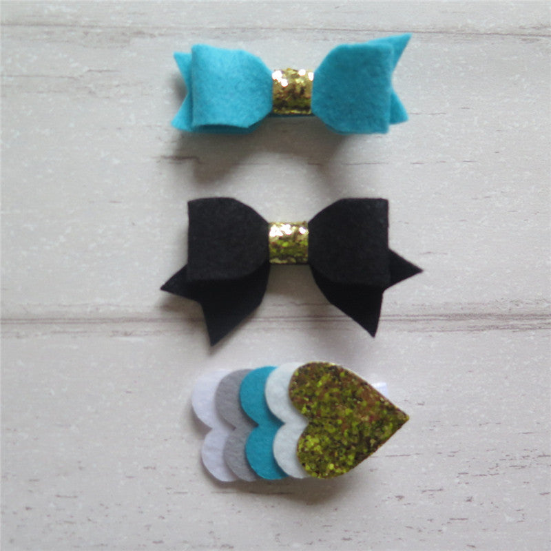 Felt Bow & Heart Clips Set of 3 - Teal and Black Mix