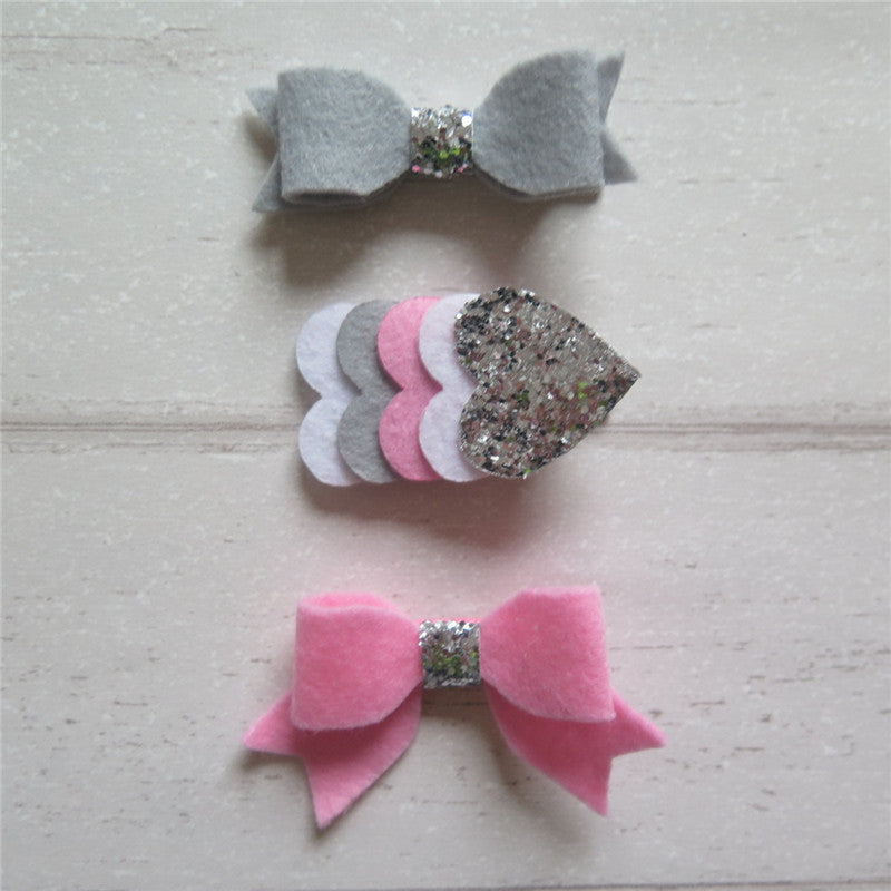 Felt Bow & Heart Clips Set of 3 - Silver and Pink Mix