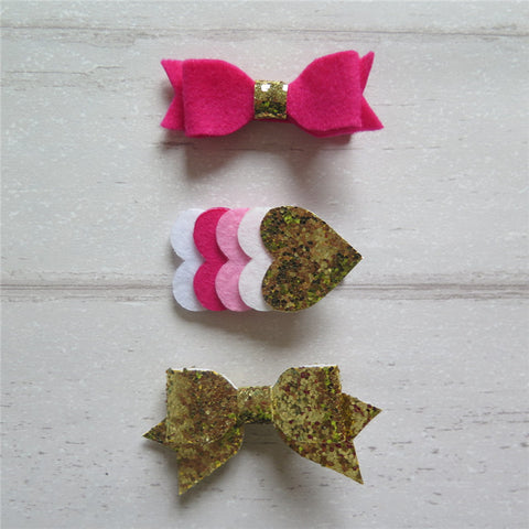 Felt Bow & Heart Clips Set of 3 - Gold & Shk Pink Mix
