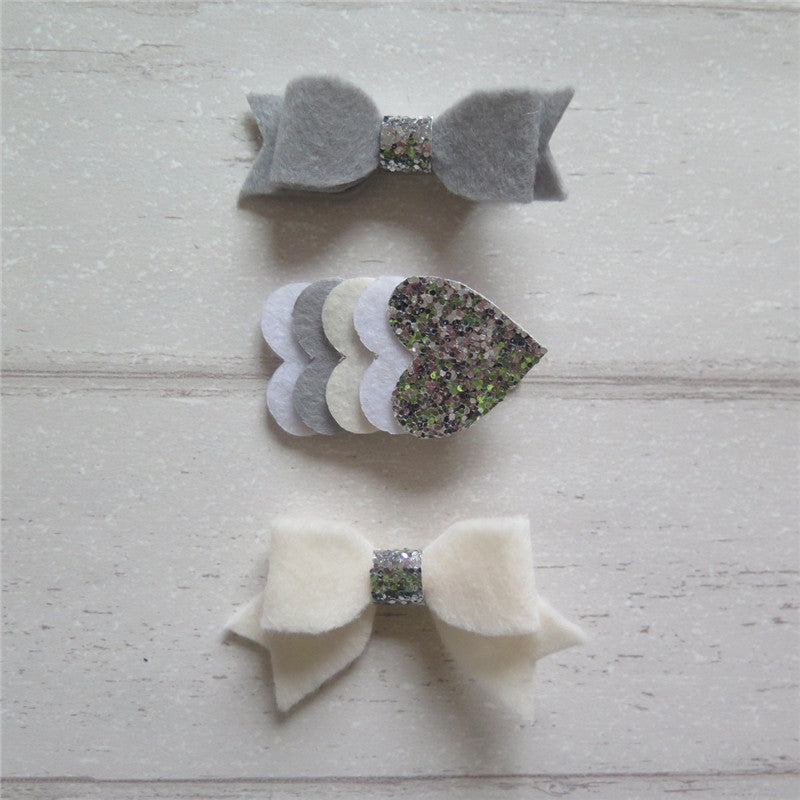 Felt Bow & Heart Clips Set of 3 - Silver and Ivory Mix
