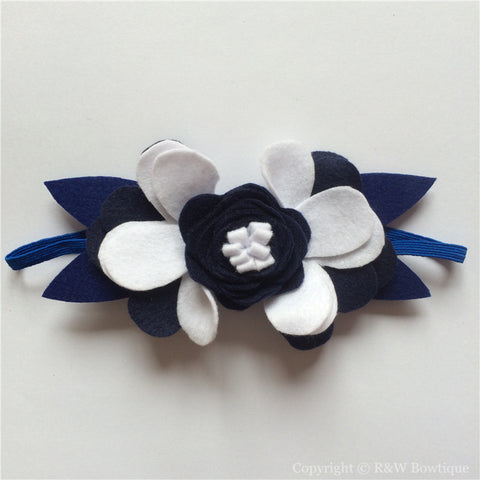 Navy and White Felt Flower Crown Headband