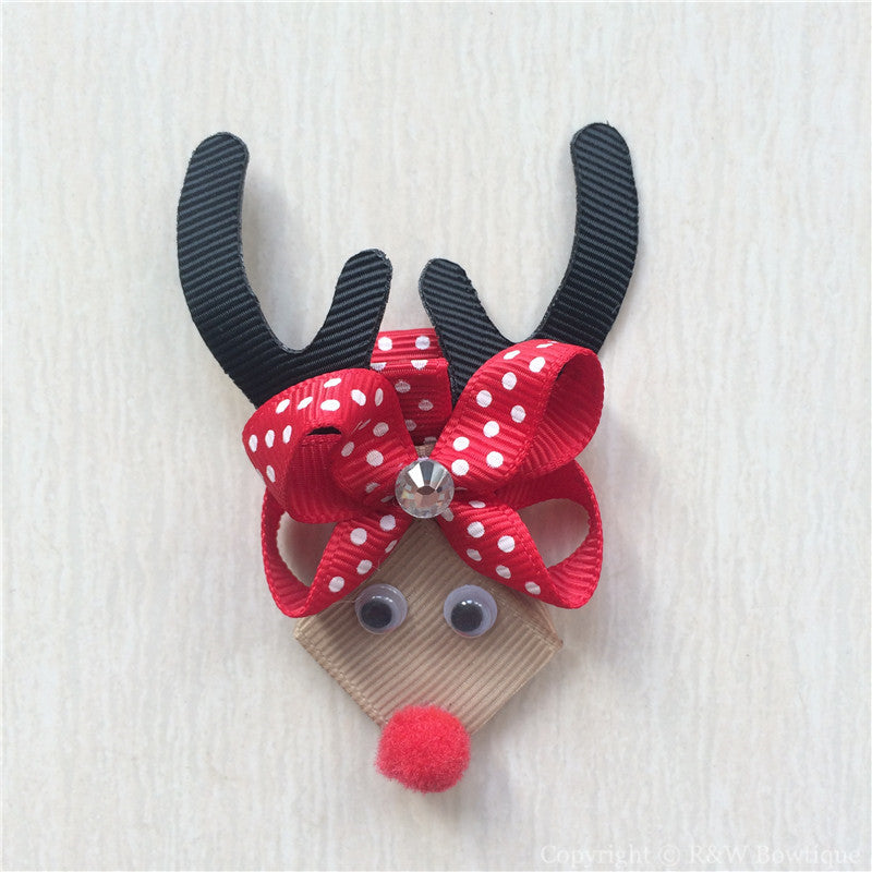 Reindeer Rudolph #E Sculptured Hair Clip