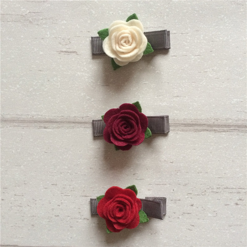 Felt Rose Clip Set of 3 - Red Mix
