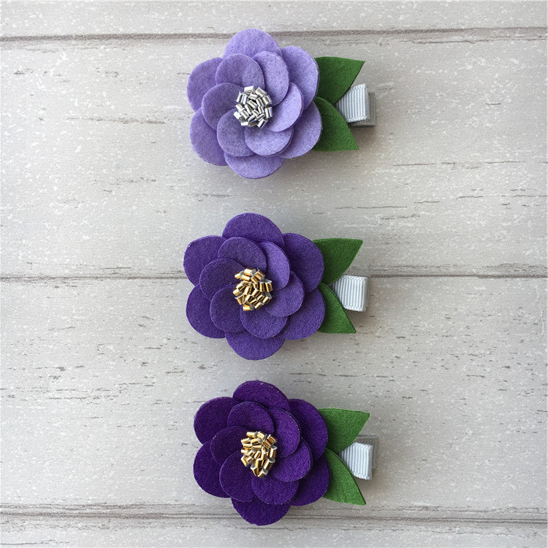 Felt Hibiscus Clip Set of 3 - Purple Mix