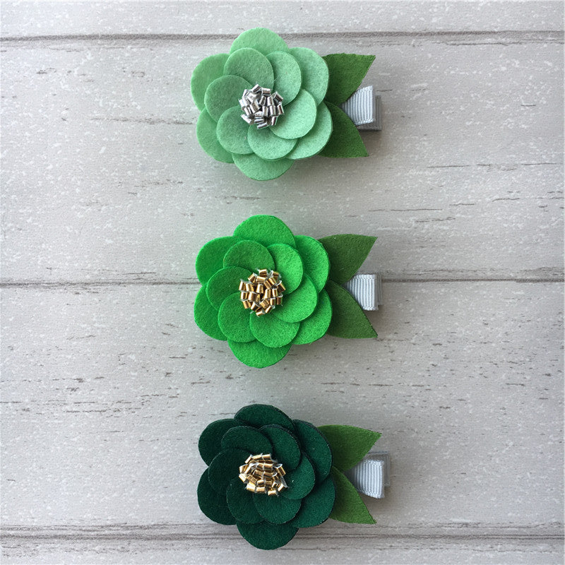 Felt Hibiscus Clip Set of 3 - Green Mix